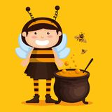 Girl dressed up as a little bee. Vector illustration design stock illustration