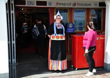 A girl dressed up in Dutch traditional costume, Volendam, Netherlands Stock Image