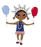 Girl dressed in USA flag colors with balloons Royalty Free Stock Photography
