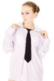 The girl dressed in a white shirt, and tie posing Stock Image