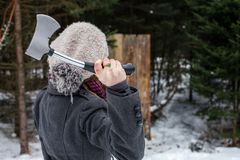 Axe throwing competition royalty free stock photos