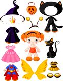 Girl with dresses for Halloween Party royalty free illustration