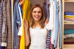 Girl in a dressing room Stock Image