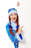 Girl dressing in russian christmas costume Stock Photography