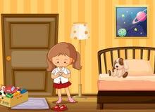 Girl dressing up in school uniform in bedroom Stock Image