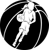 Girl Dribbling A Basketball Stock Photo