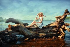 Girl on driftwood Stock Images