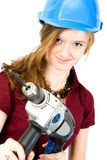 Girl with drill Stock Images