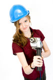 Girl with drill Royalty Free Stock Images