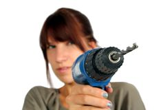 Girl with drill Royalty Free Stock Photo