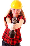 Girl  and drill Royalty Free Stock Photography