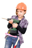 Girl with a drill Royalty Free Stock Images
