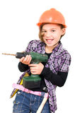 Girl with a drill. Girlsas a craftsman with a drill Royalty Free Stock Image