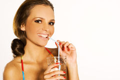 Girl with drink Royalty Free Stock Image