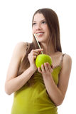 Girl drink apple puff cocktail smile isolated Stock Photo