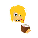 Girl drink coconut milk vector part two Royalty Free Stock Image