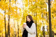 girl drink coffee in autumn yellow  sunny park Royalty Free Stock Image