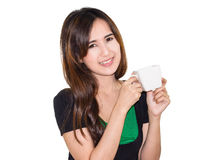 Girl drink coffee Royalty Free Stock Images