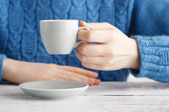 Girl drink espresso coffee from small cup Royalty Free Stock Image