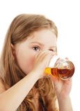 The girl drink juice Stock Images