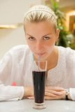 Girl drink juice Stock Photo