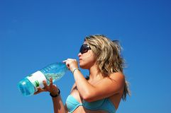 Girl drink water Royalty Free Stock Photography