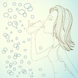 Girl drink water on abstract bubbles background Royalty Free Stock Image