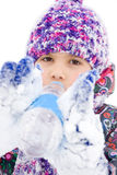 Girl drink water in winter park Royalty Free Stock Photos