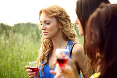 Girl drink wine Stock Photos