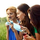 Girl drink wine Stock Image