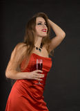 Girl drink a wine Stock Photography