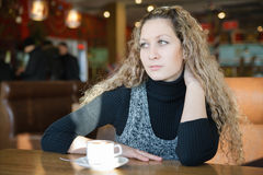 Free Girl, Drinking A Cappuccino In A Cafe Stock Image - 20360681