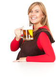 Girl drinking beer from the mug Stock Photos