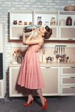 Girl is drinking from a bottle of soda. Royalty Free Stock Images