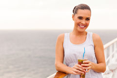 Girl drinking cocktail Stock Images