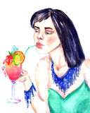 Girl drinking cocktail. Hand Painted Watercolor Illustration Girl drinking cocktail Stock Photos