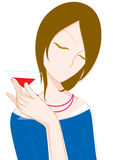 Girl drinking a cocktail. Vector illustration Stock Image