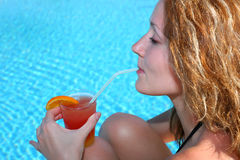 Girl drinking coctail Royalty Free Stock Photo