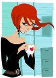 Girl drinking coffee stock image