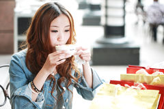 Girl drinking coffee Royalty Free Stock Image