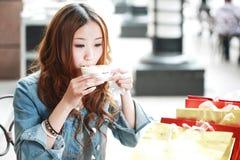 Free Girl Drinking Coffee Royalty Free Stock Image - 13994056