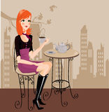 Girl drinking coffee Stock Images