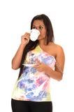 Girl drinking coffee. Royalty Free Stock Image