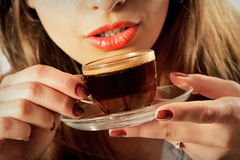 Girl drinking coffee Stock Photography