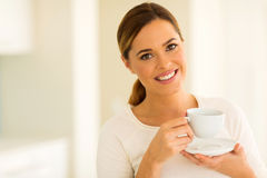 Girl drinking coffee Stock Photos