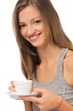 Girl drinking a coffee in the morning Royalty Free Stock Image