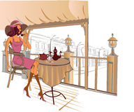 Girl drinking coffee in the street cafe stock illustration