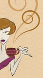 Girl drinking coffee vector Royalty Free Stock Images