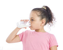 Girl Drinking Glass of Milk Royalty Free Stock Photography