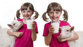 Girl drinking healthy goat milk Stock Image